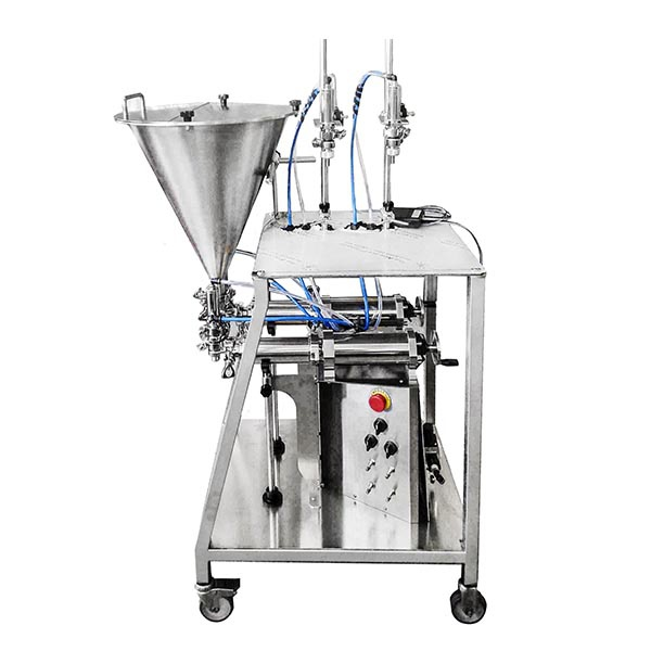 Double volumetric filler with wheels for the dosing of oil and vinegar