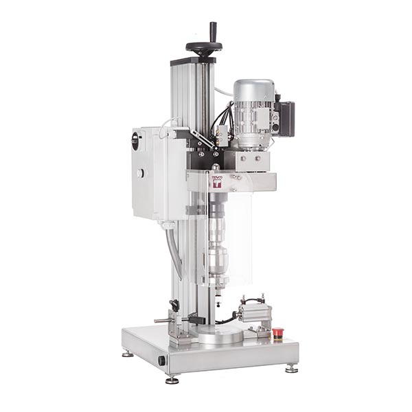 Descending head capping machine with magnetic clutch and twist off spindle for jars