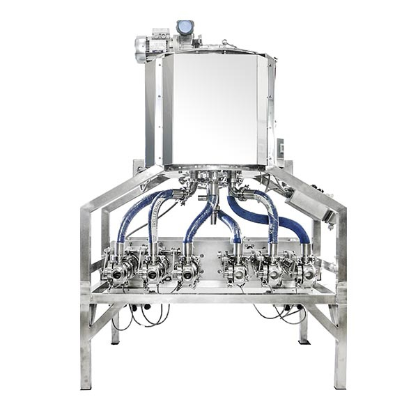 6-head dosing unit with heating unit for creams and cosmetic lotions