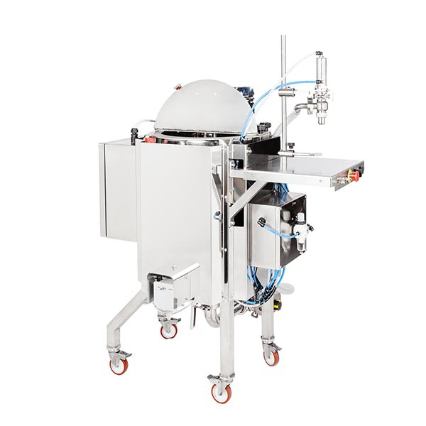 Hopper with heating system and honey dosing mixer